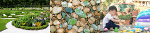 Pebbles and sand for landscaping